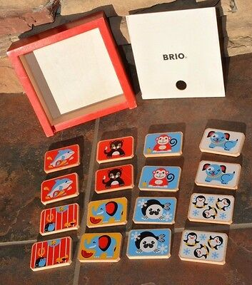 Brio wood memory game 16 Tiles Wooden Box - Perfect for Travel - Portable