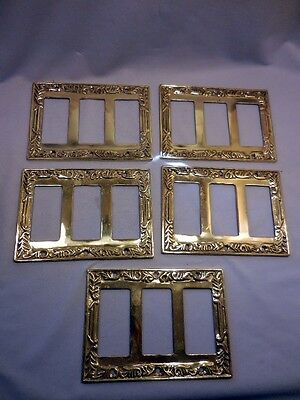5 Heavy Solid Molded Ornate Brass Triple Rocker Switch Plates With Screws