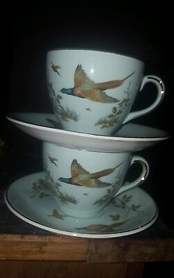 alfred meakin geladon green  birds cup and saucer x 2
