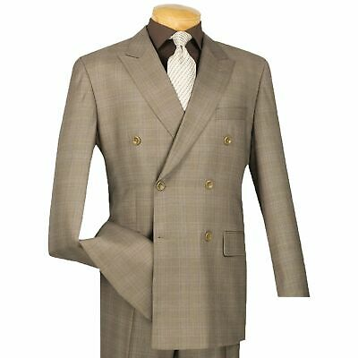 Vinci Men's Tan Glen Plaid Double Breasted 6 Button Classic-Fit Suit NEW