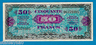 """RARE """"1ST FLAG ISSUE""""France P117 50 Francs ALLIED MILITARY NOTE WW2 1944 XF/AU"""