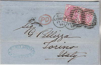 1874 QV LONDON ENTIRE WITH FINE PAIR OF SG143 3d ROSE STAMPS CAT £160+ TO ITALY