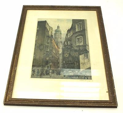 20Thc Coloured lithograph Print Signed - City Street Frame Picture C1950