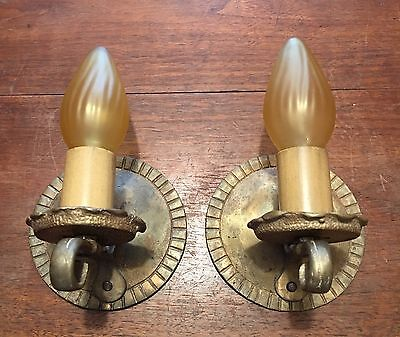 Beautiful Brass Sconces Vintage Antique Wired Pair Electric Candles