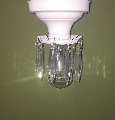 Beautiful Unique Flush Mount Bathroom Hallway Fixture Vintage Antique Prisms
