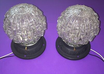 Heavy Antique Flush Mount Cast Iron Fixtures With Heavy Glass Globes Wired Pair