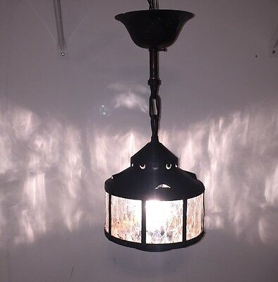 Antique Arts And Crafts Light Fixture Glue Chip Glass Original Finish