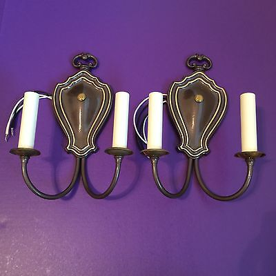 Simple European Design Double Arm Wall Sconce Pair Rewired Great!!