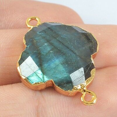 Clover Natural Labradorite Faceted Connector Gold Plated H80214
