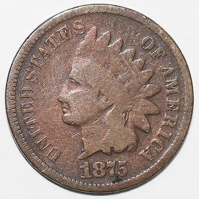 1875 Better Date Indian Head Cent Penny