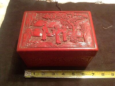 Fine Antique Chinese Carved Cinnabar Scenic Box
