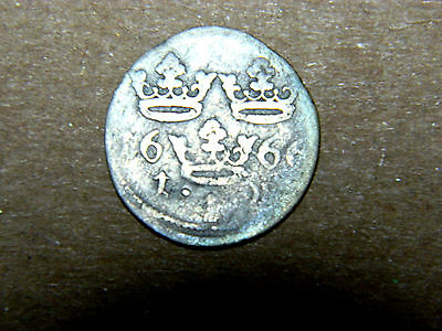 Scarce, Sweden, silver 1 ore, 1666. Light toning, good surfaces other than wear