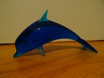 Beautiful blue glass dolphin marine ornament - lovely Christmas gift