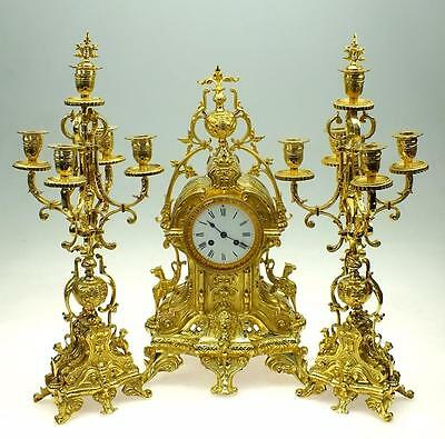 Fine Antique French Bronze Ormolu Candelabra Set 8Day Strike Mantel Clock C1880