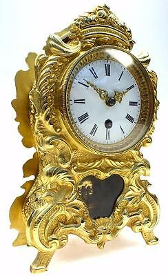 Awesome Antique French Rococo Bronze Ormolu 8 Day Striking Mantel Clock C1890