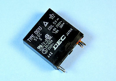 2pcs DEC Relay DG1U, 5VDC, 8A 250V, SPST,