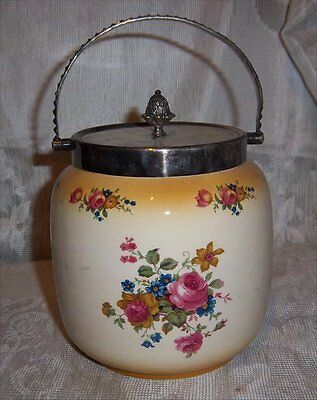 Antique Porcelain Biscuit Jar – Silver Plate Lid and Handle Rose Floral Pattern