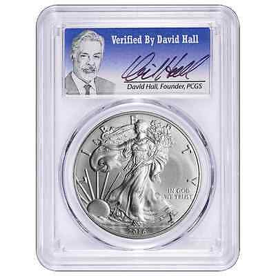 2016-W Burnished $1 American Silver Eagle PCGS SP70 David Hall Signature First S