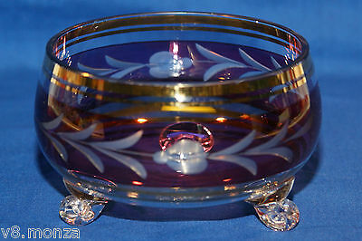 Pretty Red & Gold Etched Glass Candy Dish ☆ 3 Three Footed