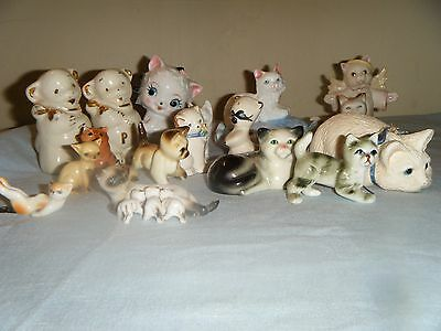 Lot of 20 Vintage CAT China, Porcelain FIGURINES Statues