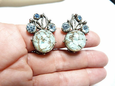 Vintage teal gold confetti blue rhinestone clip on earrings un signed Selro