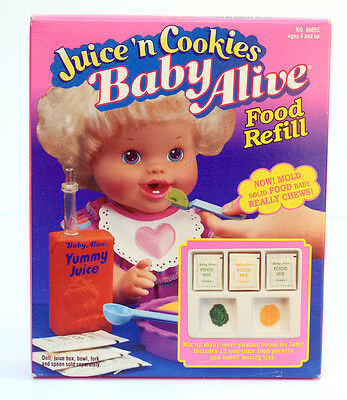 Kenner Baby Alive Baby Food Refill Juice Cookies With Mixing Tray New