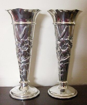 Beautiful pair of art nouveau bud vases by William Comyns, London 1906, 5.25""