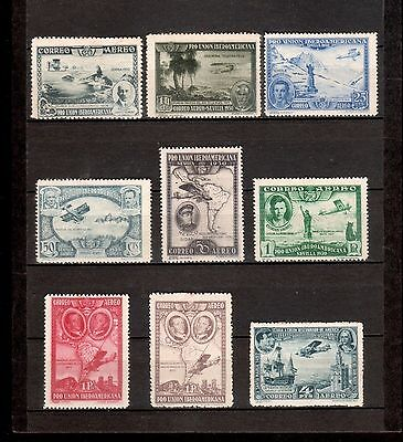 Spain Stamps 1930 Air Mail Sc C50 to C57 MH  & C55a Edifil 590 MH Pro Union