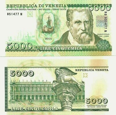 Republic of Venice / Italy- Test Specimen Banknote, 1st class security features.