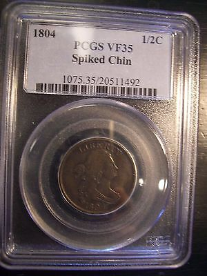 1804 Draped Bust Spiked Chin Half Cent 1/2C PCGS VF35 VF-35 - NO RESERVE - NR