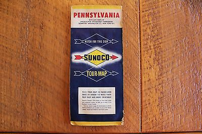 Vintage 1950's Sunoco Gas Station Road Map -Pennsylvania Pa.