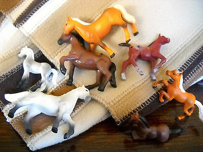 """miniture plastic horses--SEVEN (all marked China) adults about 2"""" tall"""