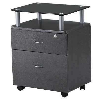 2 Drawer Rolling Glass Topped Filing Cabinet Graphite Storage Office Furniture