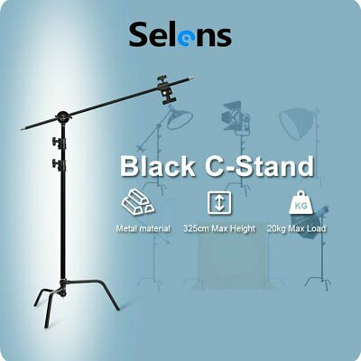 "Selens 40"" Stainless Steel Heavy Lighting Century C Stand, Boom Arm, Grip Head"