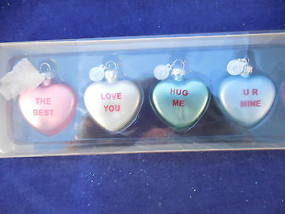 "8 blown glass Valentine candy heart ornaments 1 1/2"" tall Dept. 56"