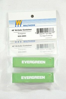 N Scale Walthers Evergreen 40' Hi-Cube Intermodal Container - Lot of 2