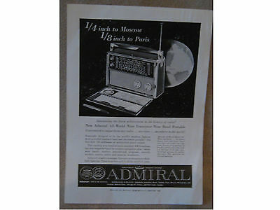 ORIGINAL ADVERT -ADMIRAL ALL-WORLD NINE TRANSISTOR from National Geographic 1959