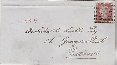 1849 QV MID-CALDER COVER WITH 1d RED IMPERF STAMP MAILED TO EDINBURGH