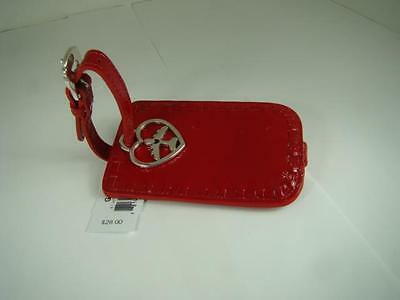 Brighton red airplane charm patent  LEATHER LUGGAGE TAG   $28   new with tag