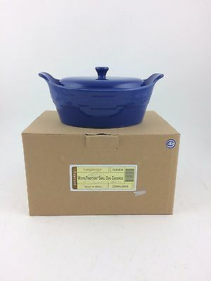 Longaberger Pottery Small Oval Casserole Covered Dish Roaster Blue NIB