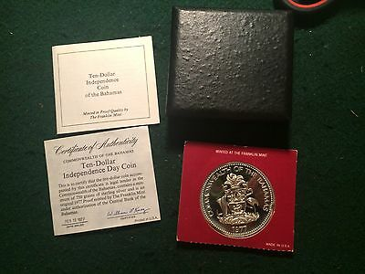 1977 Commonwealth of the Bahamas .925 Sterling Silver $10 Proof Independence Day