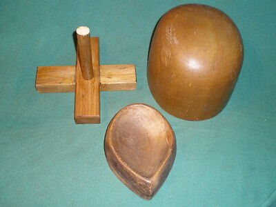 2 Vintage Wood Wooden Hat Form Mold Block 1 Marked Hatters Supply Chicago