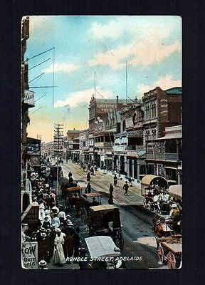 South Australia 1909 Rundle Street Adelaide Colour Postcard To Russia