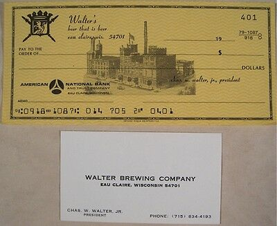 Walters Beer Blank Check Business Card Eau Claire Wi.