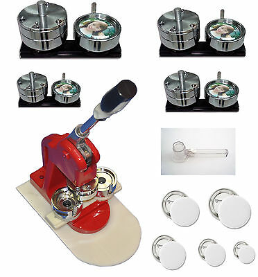 New 5in1 Button Maker Press Badge Machine,Cutter+500 Buttons,5 Size Mold Bundle