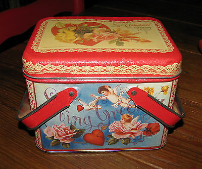 Valentine Metal Tin Tote Box, Vintage Style Victorian Angels & Hearts