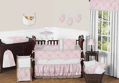 Boutique Pink Grey and White Elegant Cute Baby Girl Crib Bedding Comforter Set