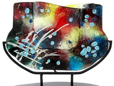 X BIG! Multi Coloured Art Glass Abstract Sculpture Vase Murano Collection