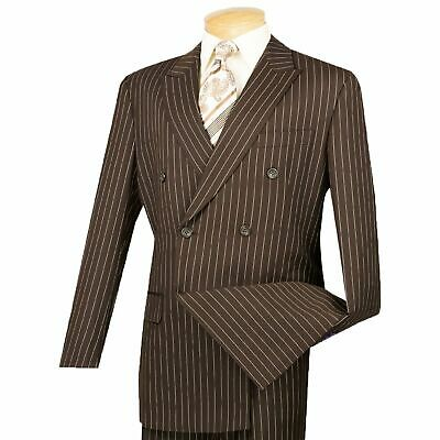 Men's Brown Pinstripe Double Breasted 6 Button Classic Fit Suit NEW