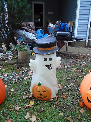 Vintage Scary  Face Ghost With Black Top Hat  Blowmold Lighted Very Rare Design